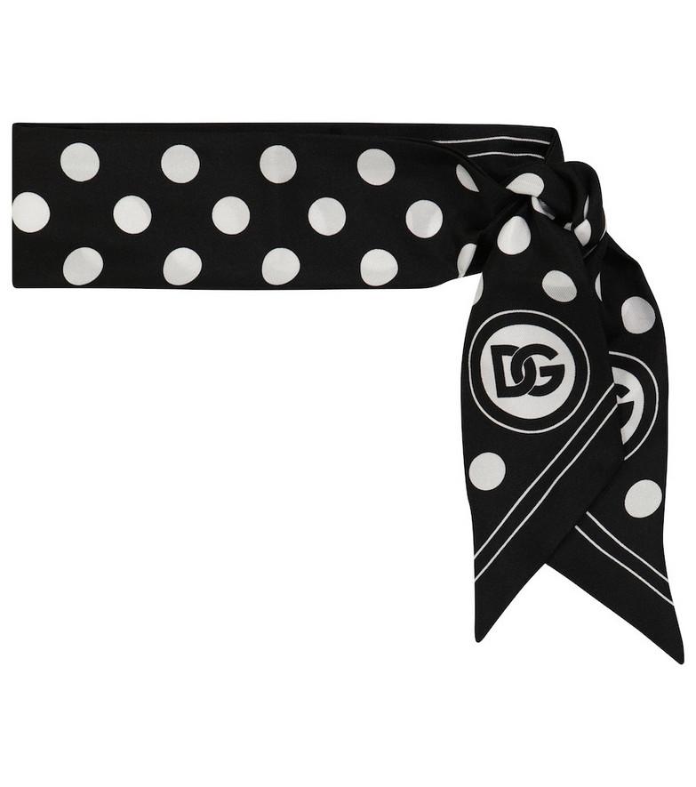 Dolce & Gabbana Polka-dot silk twill scarf in white