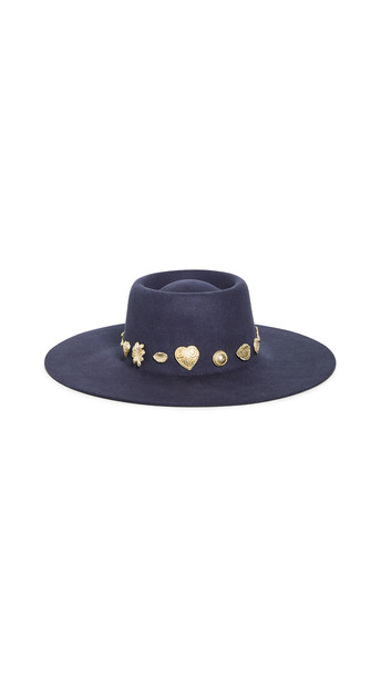 Lack Of Color The Cosmic Boater Hat in navy / gold