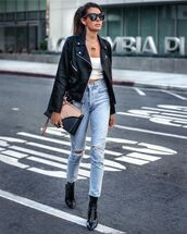 jeans,ripped jeans,high waisted jeans,black boots,black leather jacket,white top,crop tops,bag