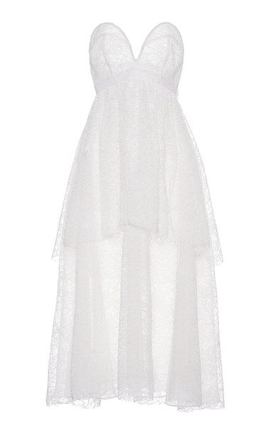 Hiraeth Strapless Tiered Chantilly Lace Dress Size: 2 in white