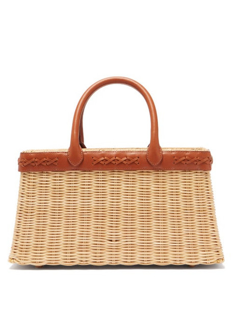 Sparrows Weave - The Tote Wicker And Leather Basket Bag - Womens - Tan
