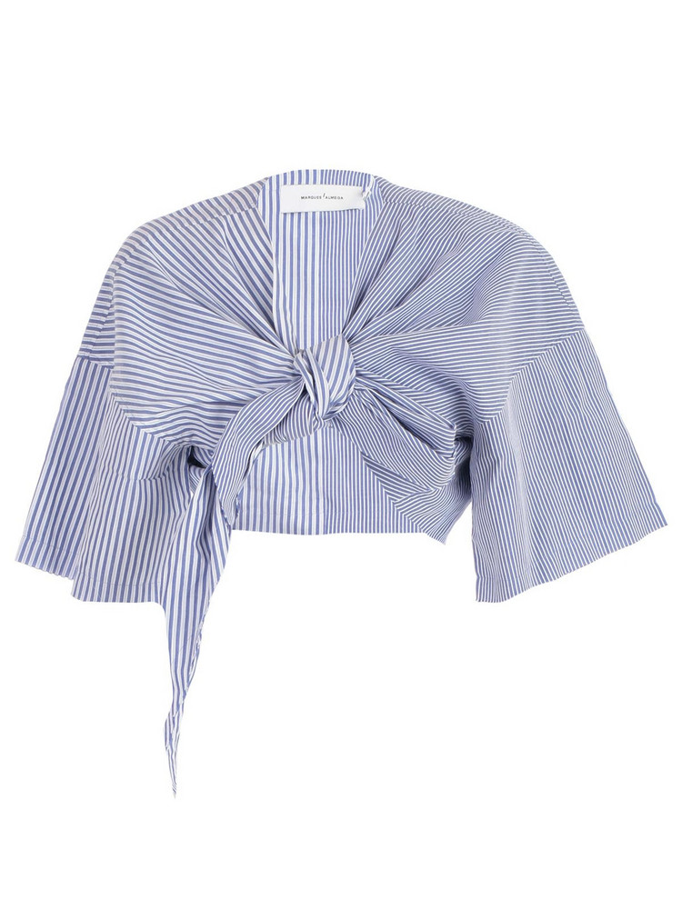 Marques'almeida Tie Front Cropped Top in blue