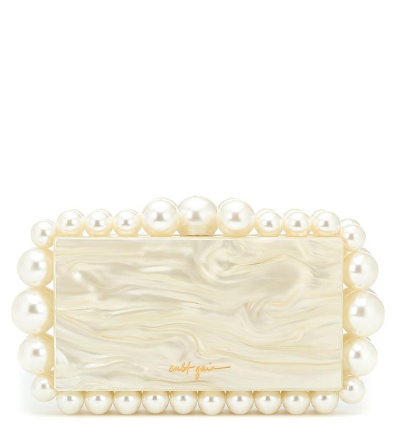 Cult Gaia Eos marbled acrylic clutch in white