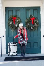 dress corilynn,pajamas,blogger,coat,sweater,shoes,shirt,dress,hat,scarf,socks,jeans,leggings,winter outfits,beanie,red coat