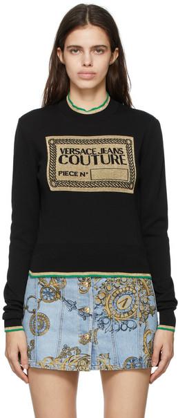 Versace Jeans Couture Black Lurex Logo Sweater in nero