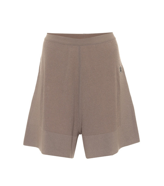 Rick Owens x Moncler cashmere and cotton-blend shorts in grey