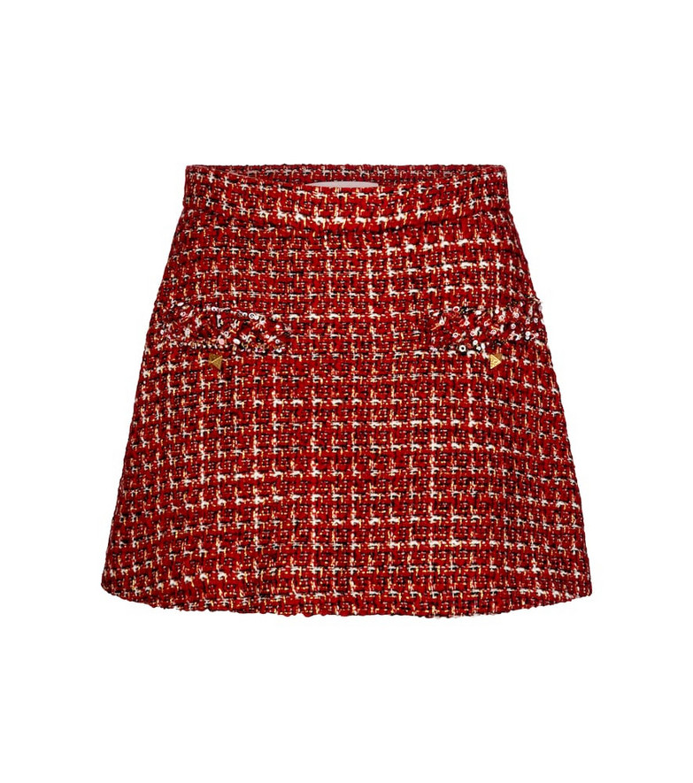 Valentino embellished tweed miniskirt in red
