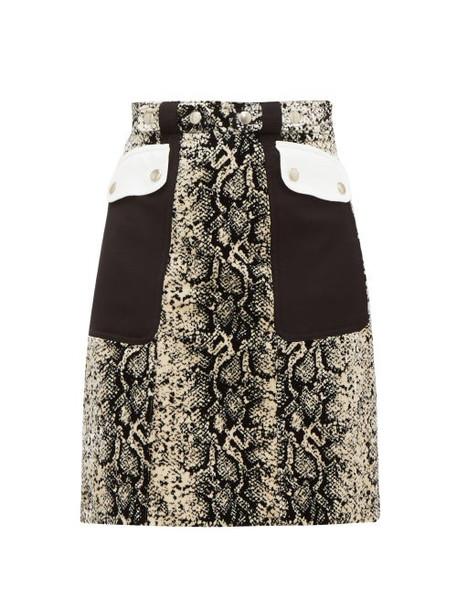 Giambattista Valli - Patch Pocket Snakeskin Print Velvet Mini Skirt - Womens - Beige Multi