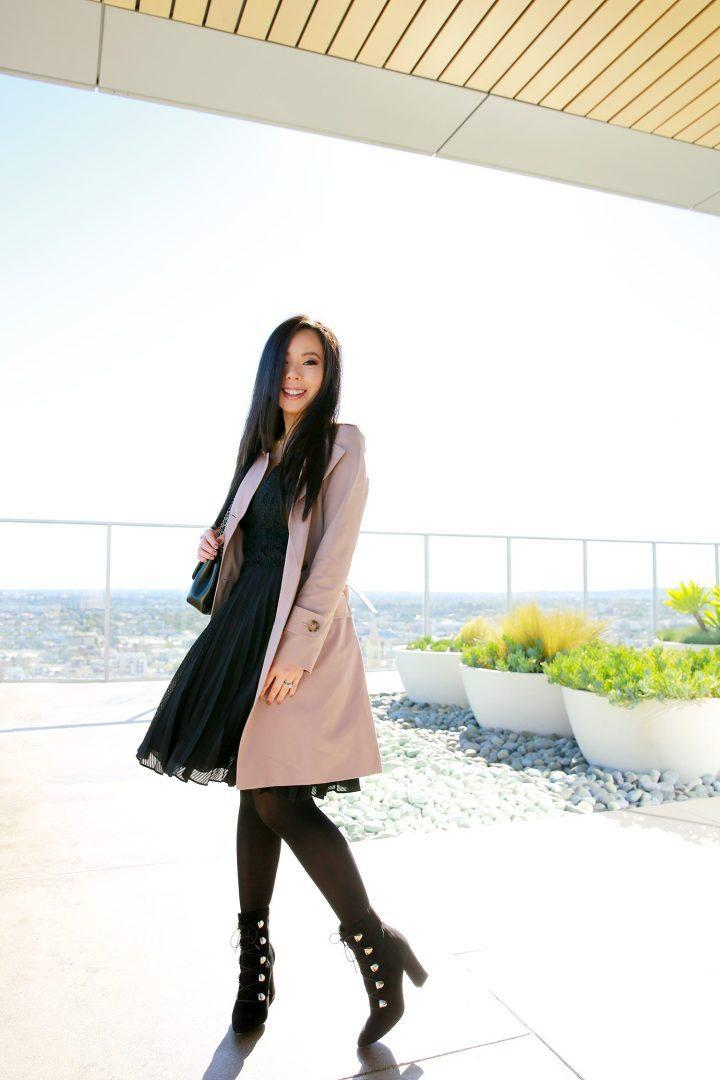 hautepinkpretty blogger coat dress jewels bag shoes trench coat spring outfits ankle boots