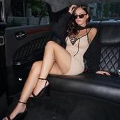 dress,cream,nude and black,bodycon dress,mini dress