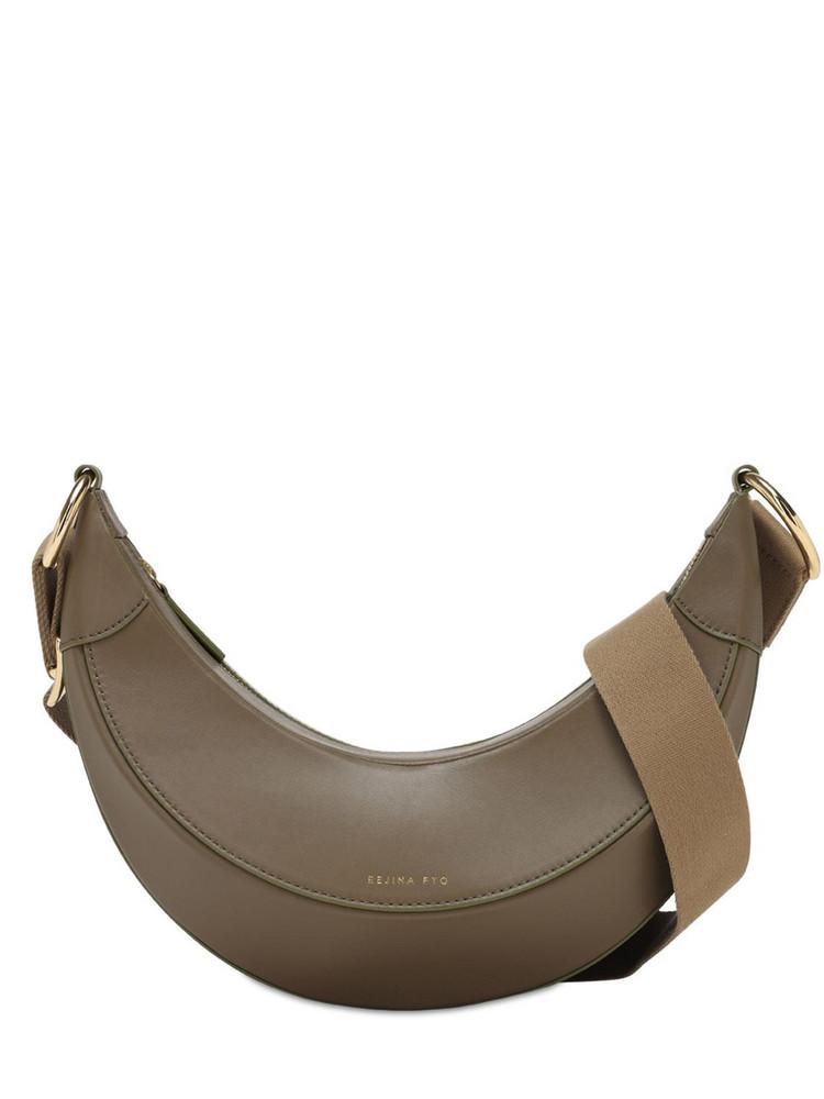 REJINA PYO Banan Python Print Leather Shoulder Bag in khaki