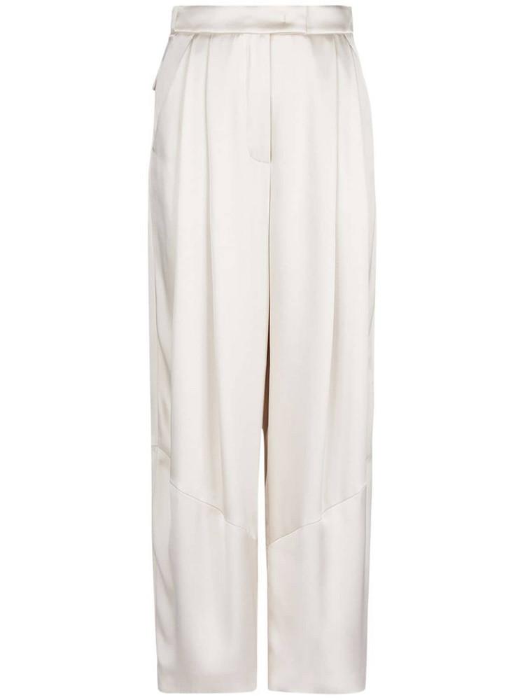 GIORGIO ARMANI Pleated Silk Satin Wide Leg Pants in ivory