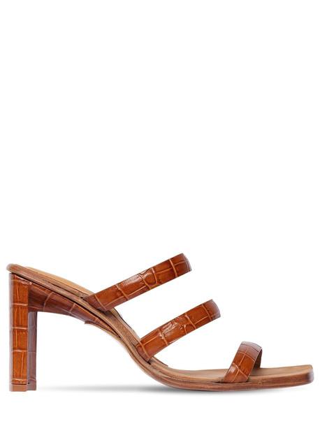 MIISTA 85mm Joanne Croc Embossed Leather Sandal in tan