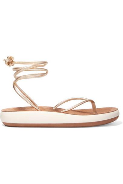 Ancient Greek Sandals - Piera Metallic Leather Sandals - Gold