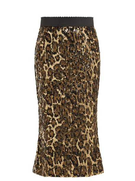 Dolce & Gabbana - Leopard Print Sequinned High Rise Pencil Skirt - Womens - Leopard