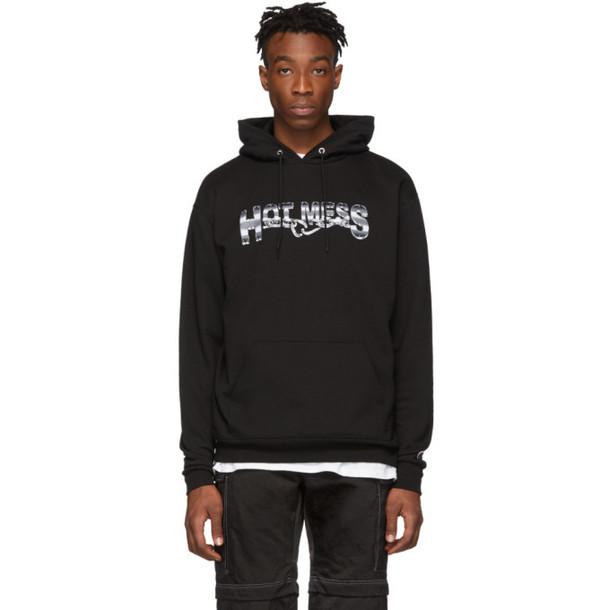 Hot Mess SSENSE Exclusive Black Logo Hoodie