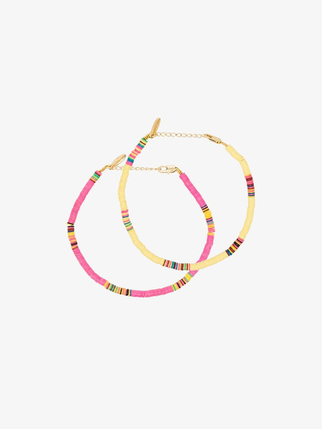 ALL THE MUST pink and yellow beaded anklet pack