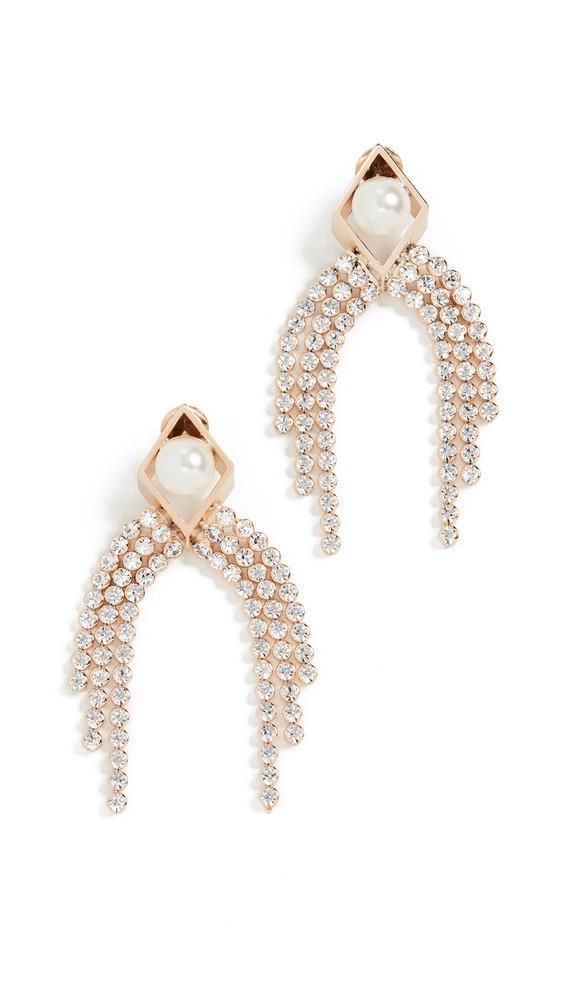 Anton Heunis Rhombus Earrings with Cascade in cream