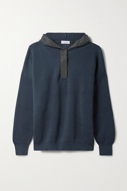 BRUNELLO CUCINELLI - Bead-embellished Ribbed Cotton Hoodie - Blue