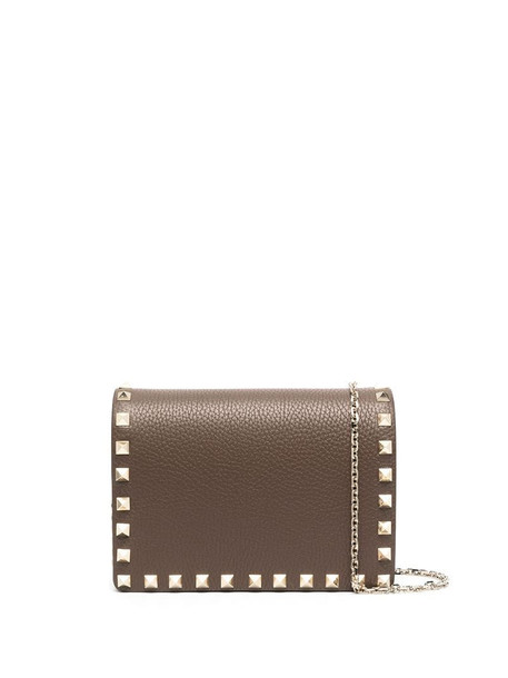 Valentino Garavani Rockstud calfskin pouch bag in brown
