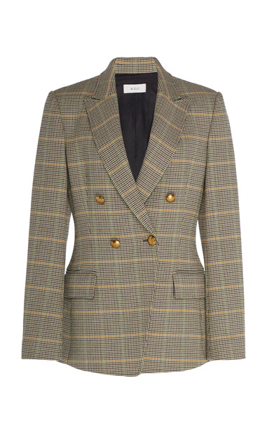 A.L.C. A.L.C. Sedgwick II Double-Breasted Checked Wool Blazer