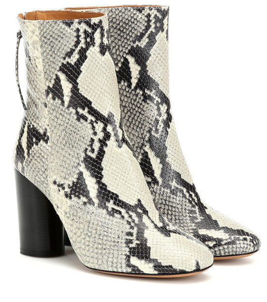 Isabel Marant Garrett leather ankle boots in white