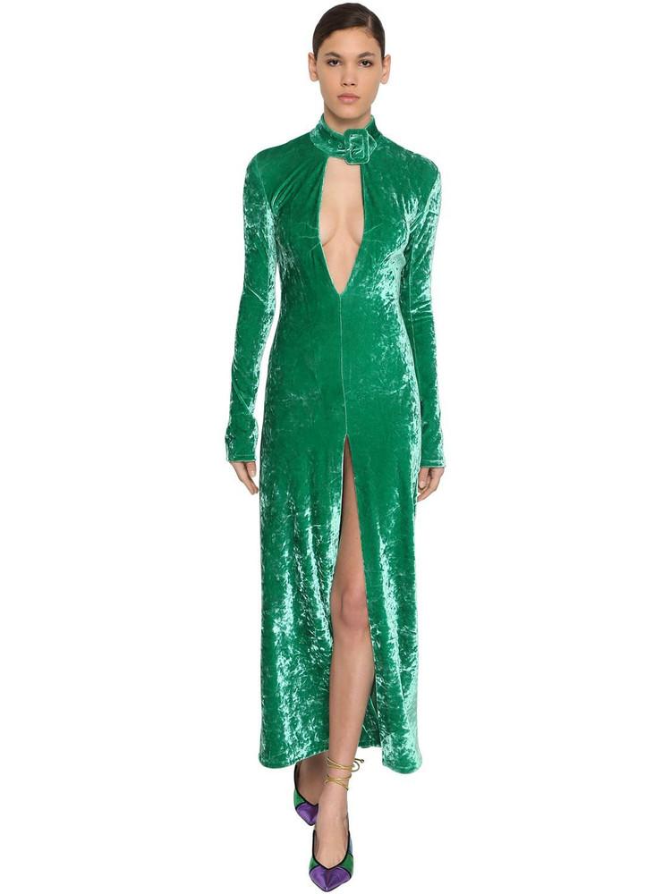 THE ATTICO Stretch Velvet Dress W/ Buckle Collar in emerald