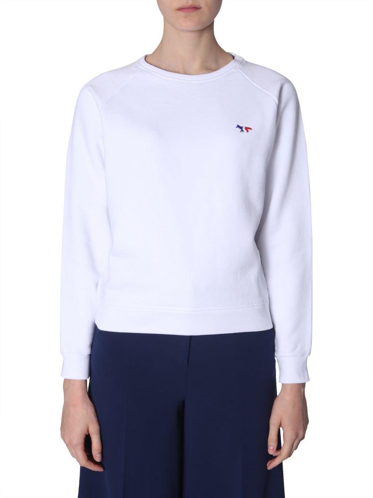 Maison Kitsuné Maison Kitsuné Tricolour Fox Patch Sweatshirt in bianco