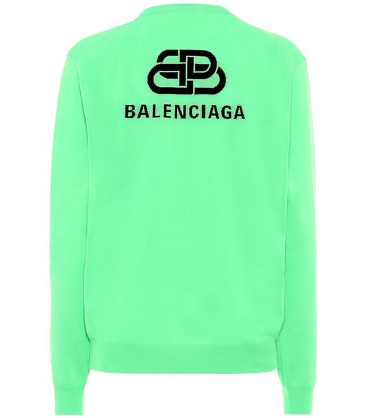 Balenciaga BB Mode virgin wool sweater in green