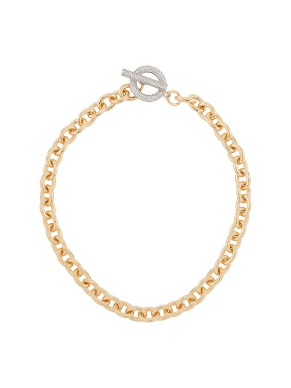 NUMBERING pavé T-bar necklace in gold