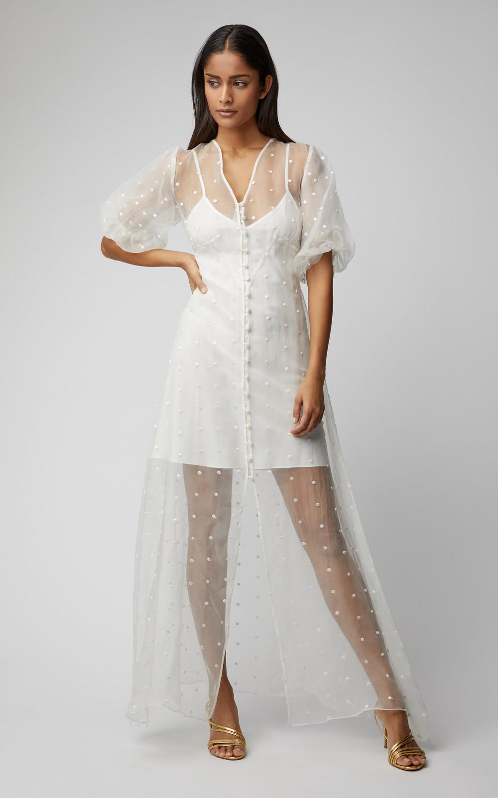Olivia von Halle Delphine Flocked Silk-Organza Maxi Dress in white