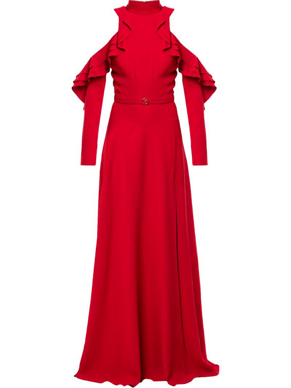 Saiid Kobeisy open-shoulder ruffled gown in red