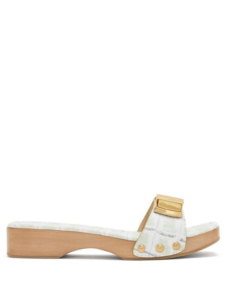 Jacquemus - Tatanes Wooden-sole Leather Slides - Womens - Green White