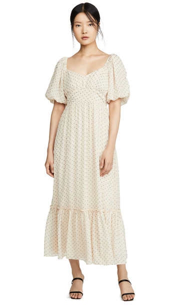 ENGLISH FACTORY Empire Maxi Puff Sleeve Dress in beige