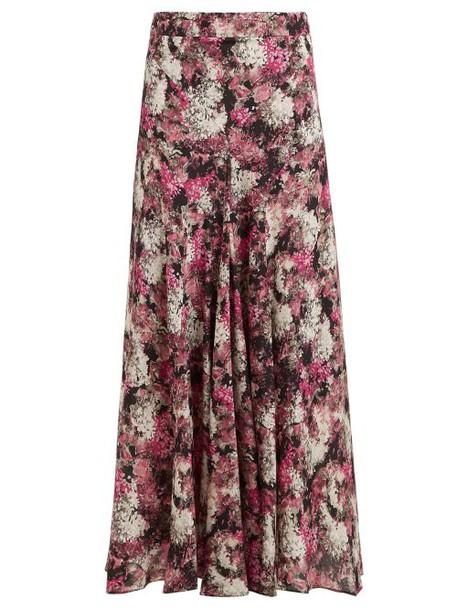 Raey - Bias Godet Ditsy Floral Print Silk Slip Midi Skirt - Womens - Pink Print