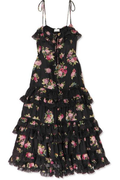 Zimmermann - Honour Lace-trimmed Tiered Floral-print Silk Dress - Black