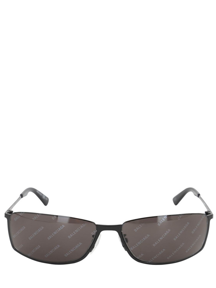 BALENCIAGA Curved Rectangle Metal Sunglasses in black