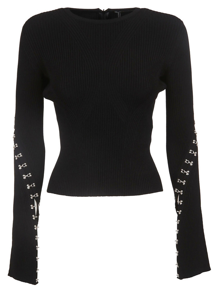 Alexander Mcqueen Embellished Top in black / silver