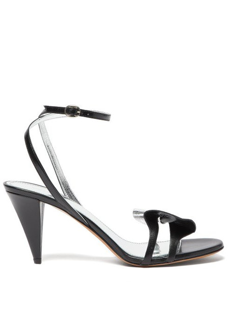 Isabel Marant - Adree Bow Trim Leather Sandals - Womens - Black Silver