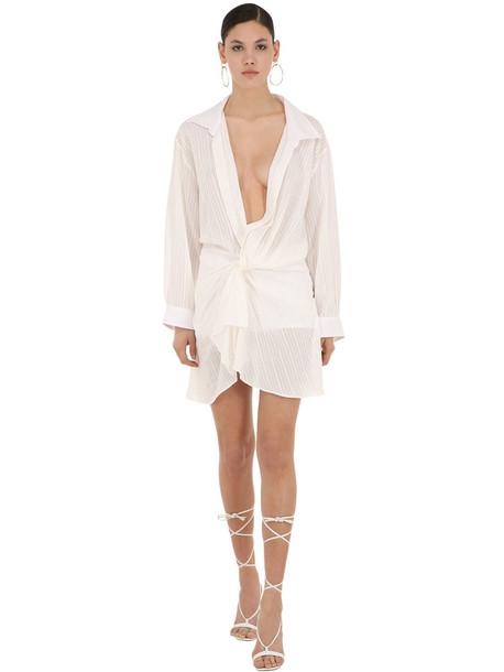 JACQUEMUS La Robe Alassio Cotton Blend Shirt Dress in white