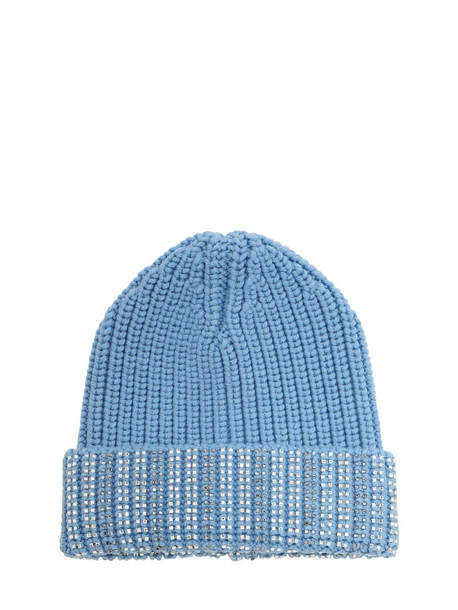 ERMANNO SCERVINO Embellished Wool Knit Beanie in blue