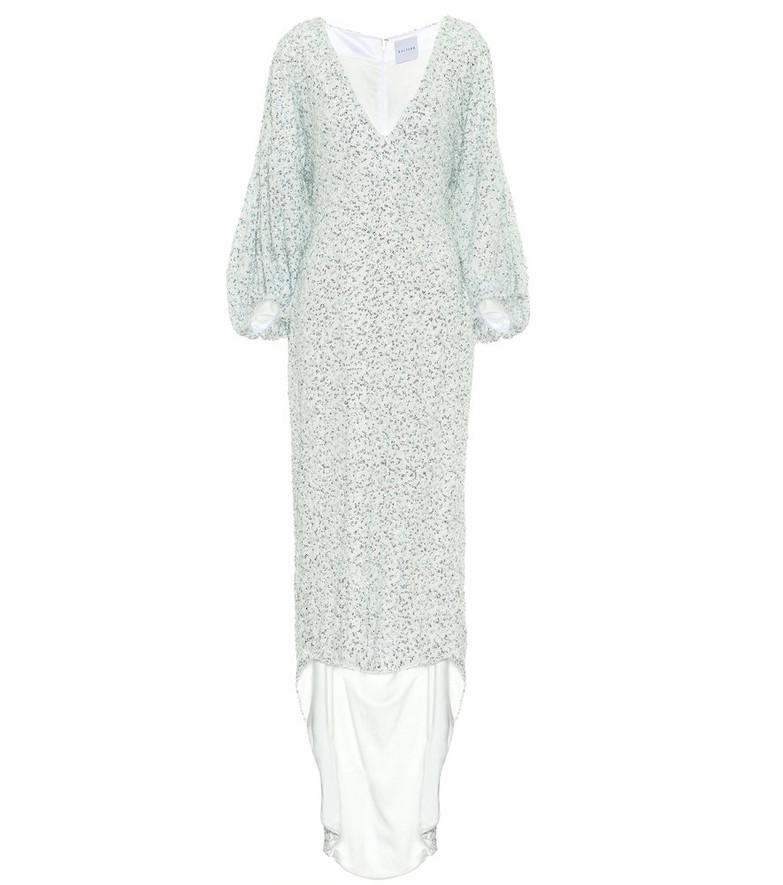 Halpern Sequined asymmetric dress in green