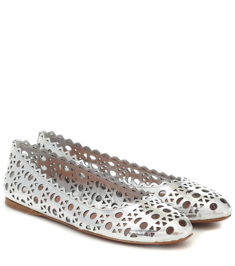 Alaïa Leather ballet flats in silver