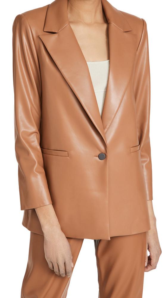 alice + olivia alice + olivia Dunn Vegan Leather Blazer in camel