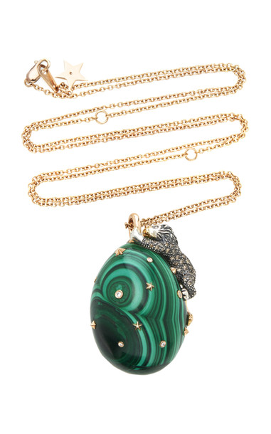 Bibi van der Velden The Lion On Malachite Necklace in green