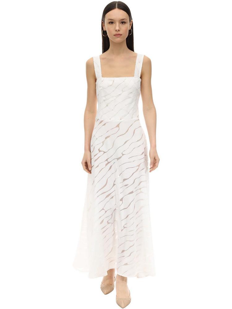 GIOIA BINI Lucinda Zebra Voile Midi Dress in white