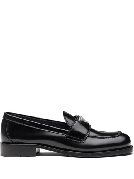 Prada leather loafers in black