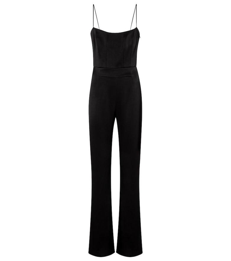 Galvan Embellished satin crêpe jumpsuit in black
