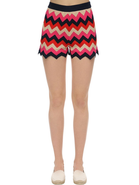 M MISSONI Cotton Rib Knit Shorts in navy / fuchsia