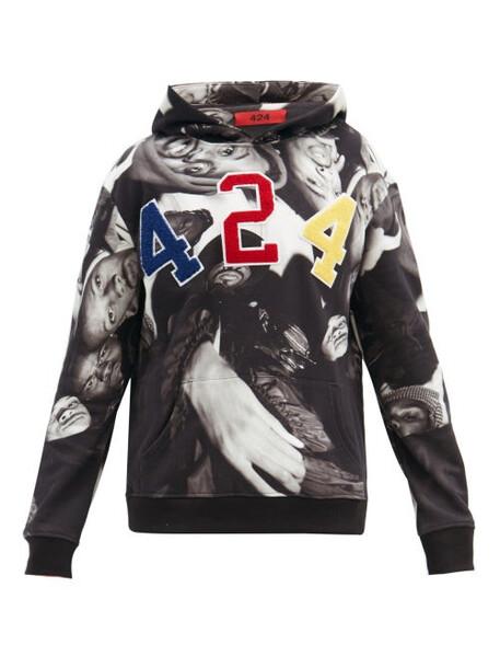 424 - Wu-tang Cotton Hooded Sweatshirt - Mens - Black Multi